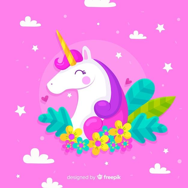 Piatto sfondo colorato con bellissimo unicorno Vettore gratuito
