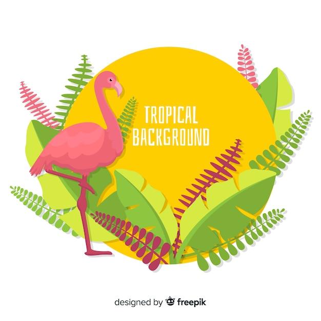 Piatto sfondo tropicale Vettore gratuito