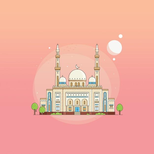 Piatto stile jumeirah grand moschea uae su sfondo sfumato Vettore Premium