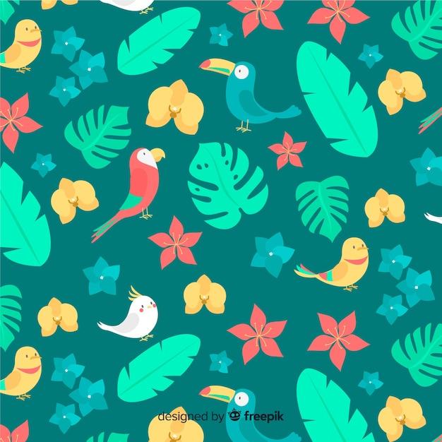 Piatto tropicale foglie e fiori sfondo Vettore gratuito