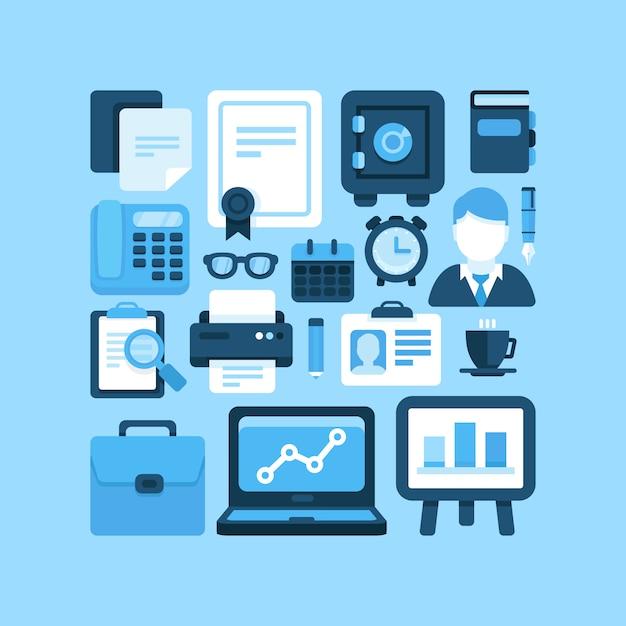 Piatto vettoriale ufficio e icone di affari Vettore Premium
