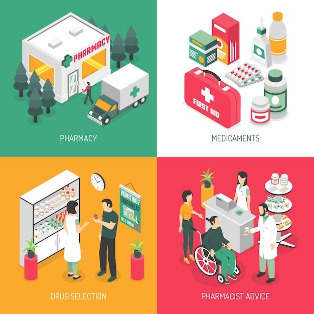 Piazza delle icone isometrica farmacia Vettore gratuito