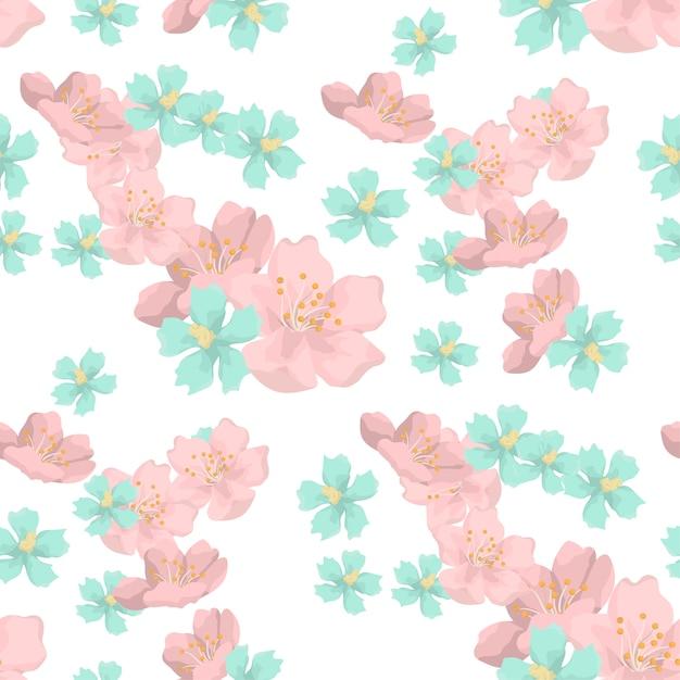 Picchiettio senza giunte di bei fiori Vettore Premium