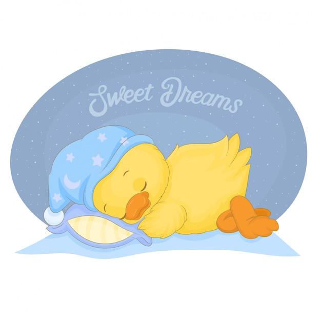 Piccola anatra gialla sveglia in un sonno del cappello blu Vettore Premium