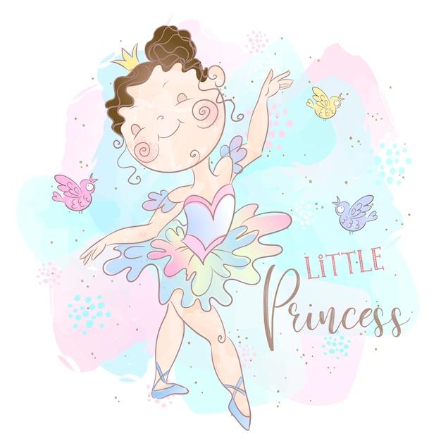 Piccola ballerina della principessa che balla Vettore Premium