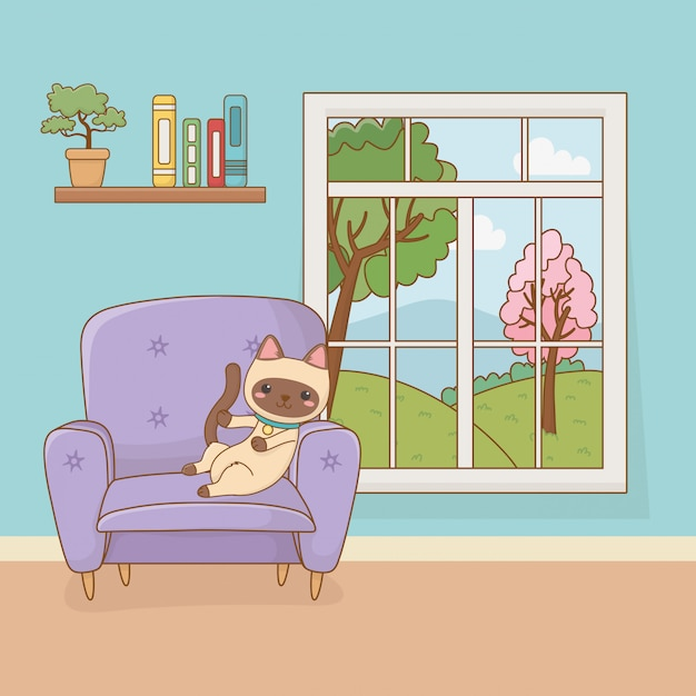 Piccola mascotte gatto nella stanza di casa Vettore Premium