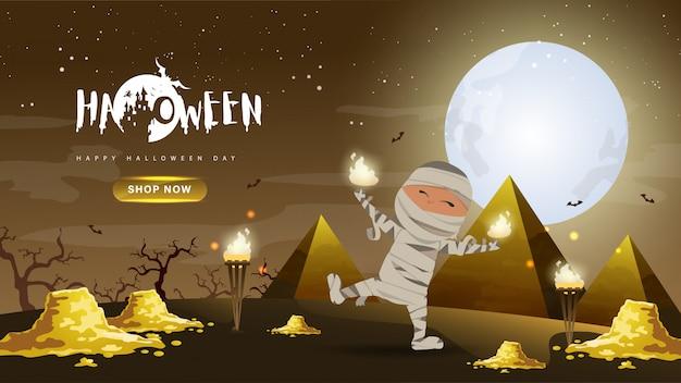 Piccola mummia sveglia con oro e piramide su sfondo notte oscura Vettore Premium