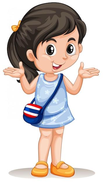 Piccola ragazza asiatica con borsetta Vettore gratuito