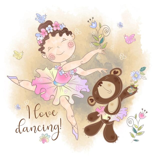 Piccola ragazza della ballerina che balla con un orso. amo ballare. Vettore Premium