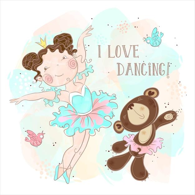 Piccola ragazza della ballerina che balla con un orso Vettore Premium