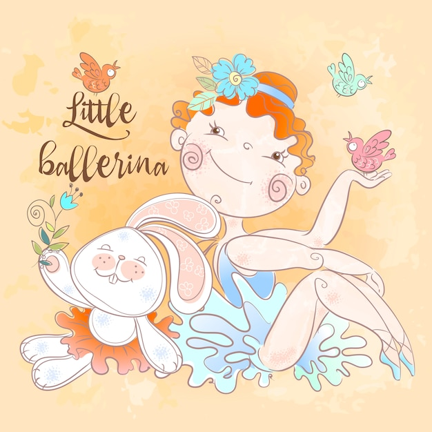 Piccola ragazza della ballerina con un giocattolo del coniglietto. Vettore Premium