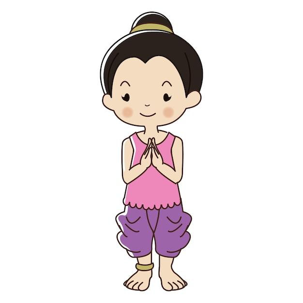 Piccola ragazza tailandese in abito tradizionale. Vettore Premium