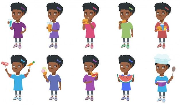 Piccola serie di caratteri della ragazza africana Vettore Premium