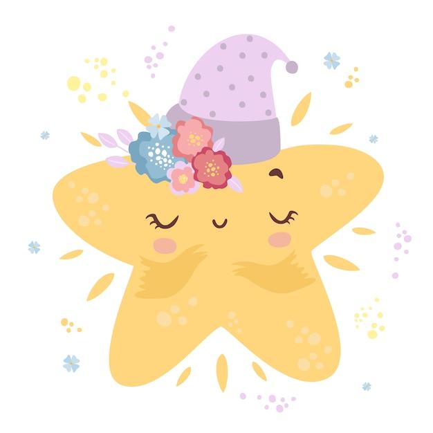 Piccola stella carina in un cappello Vettore gratuito