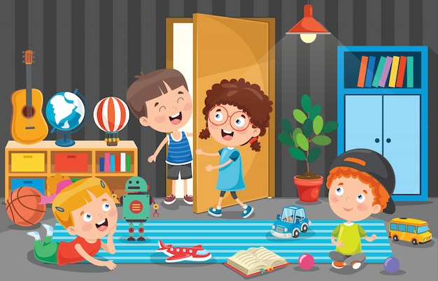 Piccoli bambini che giocano nella stanza Vettore Premium