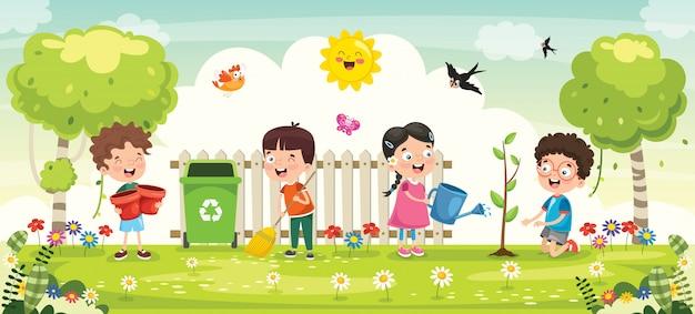 Piccoli bambini giardinaggio e piantare Vettore Premium