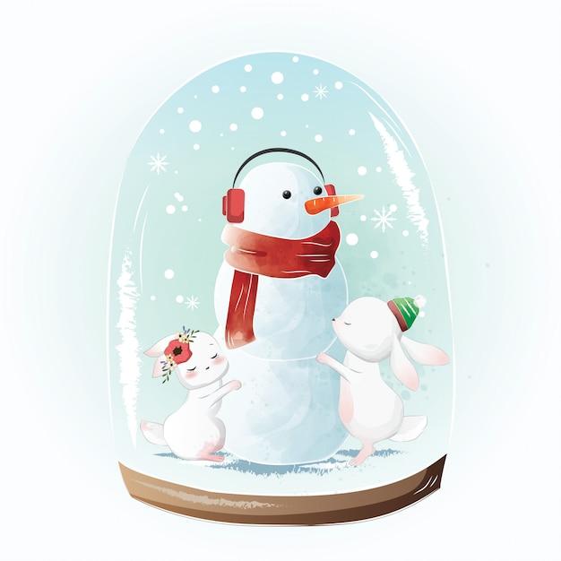 Piccoli coniglietti che abbracciano il pupazzo di neve Vettore Premium