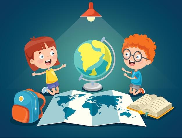 Piccoli studenti che studiano geografia Vettore Premium