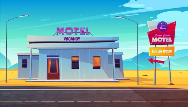 Piccolo, 24 ore, costruzione del motel del bordo della strada con il segnale stradale illuminato vicino alla strada principale Vettore gratuito