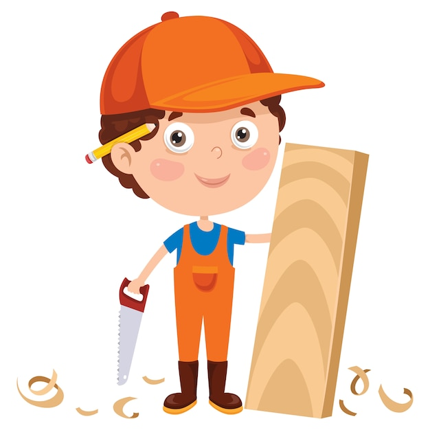 Piccolo carpentiere del fumetto che lavora con il legno Vettore Premium