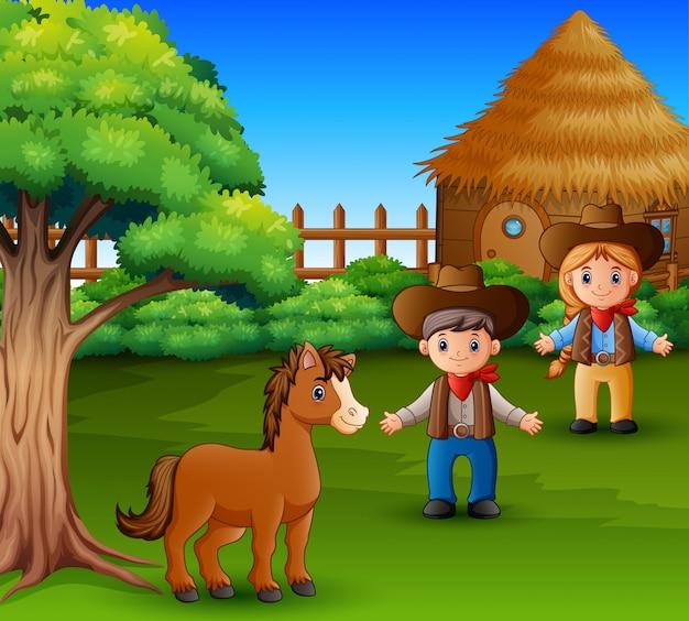 Piccolo cavallo e contadino che indossa abiti rustici Vettore Premium