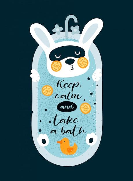 Piccolo coniglietto sveglio che si rilassa nel bagno con l'anatra Vettore Premium