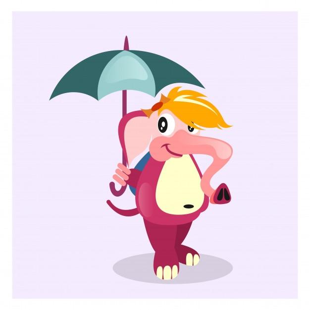 Piccolo elefante viola con personaggio dei cartoni animati ombrello
