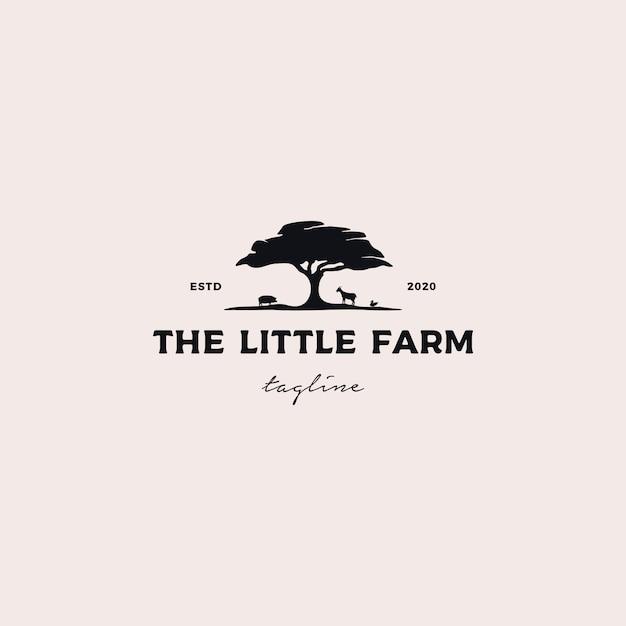 Piccolo logo design dell'azienda agricola Vettore Premium