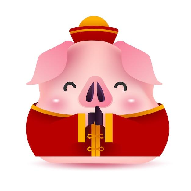 Piccolo maiale saluto in costume cinese. Vettore Premium