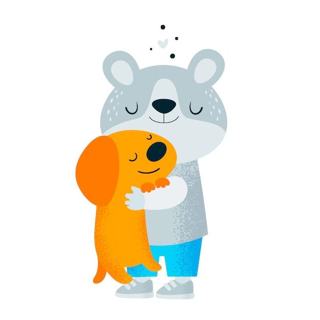 Piccolo orsacchiotto con cucciolo di cane Vettore Premium