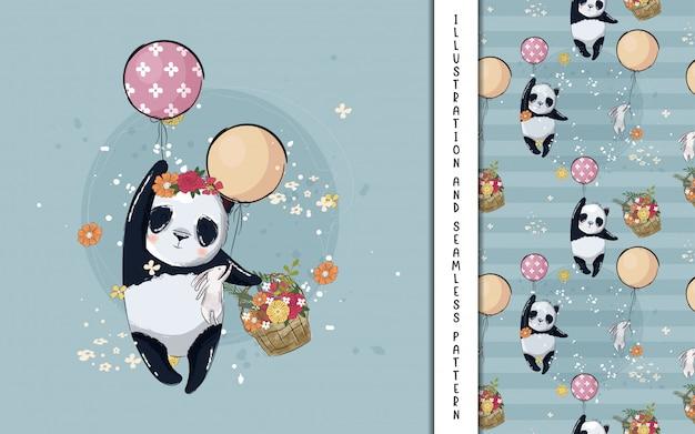 Piccolo panda con illustrazione di palloncini per bambini Vettore Premium