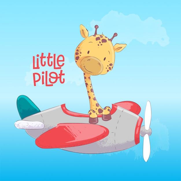 Piccolo pilota giraffa sveglia che vola su un aeroplano. stile cartone animato vettore Vettore Premium