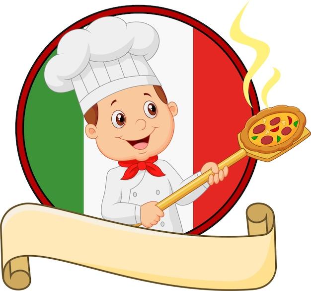 Piccolo ragazzo del cuoco unico del fumetto che tiene lo strumento Vettore Premium