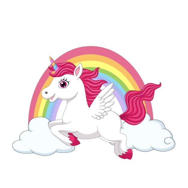 Piccolo unicorno di cavallino sveglio con le ali sulle nuvole e sull'arcobaleno Vettore Premium