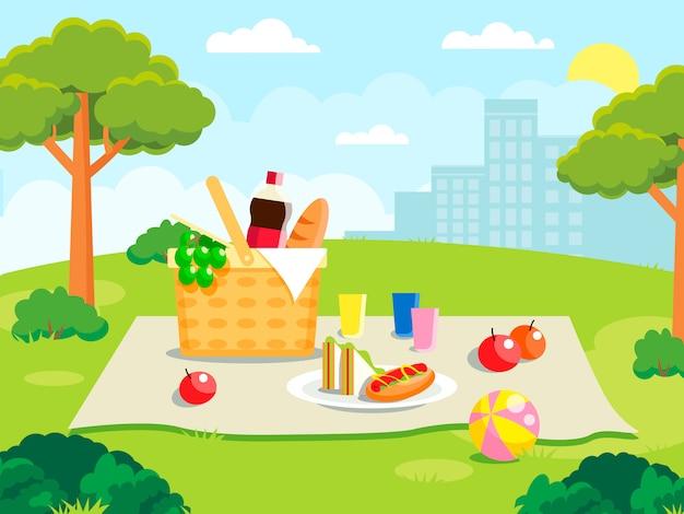 Picnic estivo sull'illustrazione della foresta. concetto di famiglia con roba da picnic Vettore Premium