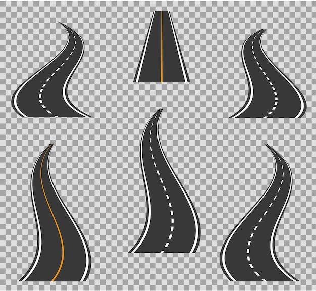 Piegatura delle icone di strada e alti modi. disegno geometrico delle curve stradali Vettore Premium