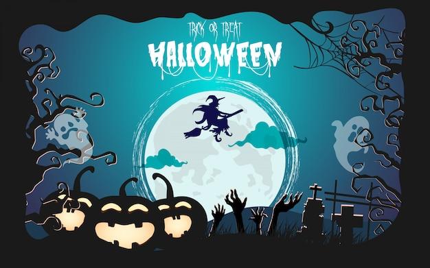 Pietra tombale di halloween al chiaro di luna. foresta spettrale di notte Vettore Premium