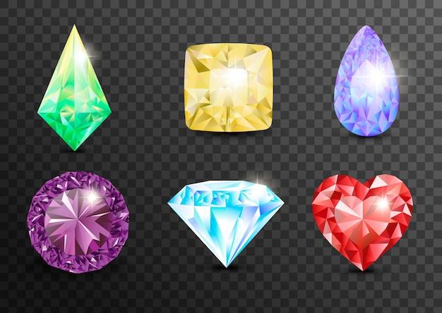 Pietre preziose e gemme, gioielli. strass e brillanti, zaffiri e ametiste, acquamarina e tormalina, diamanti e smeraldi, quarzo e rubini, agata. gemme di gioielli Vettore Premium