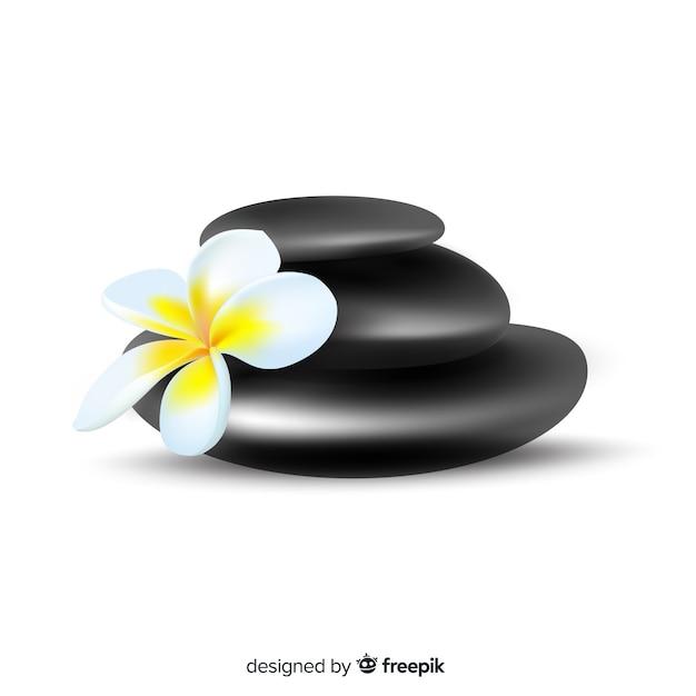 Pietre spa realistiche con fiori Vettore gratuito