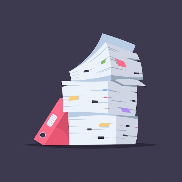 Pila di documenti, file e cartelle. vector l'illustrazione piana del fumetto del mucchio della carta dell'ufficio isolata Vettore Premium