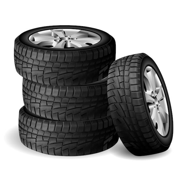 Pila di gomma invernale, officina per pneumatici. Vettore Premium