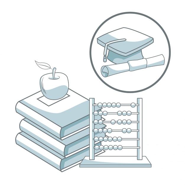 vari design uk sporco prezzo incredibile Pila di libri con abaco e abaco con tappo di laurea telaio ...