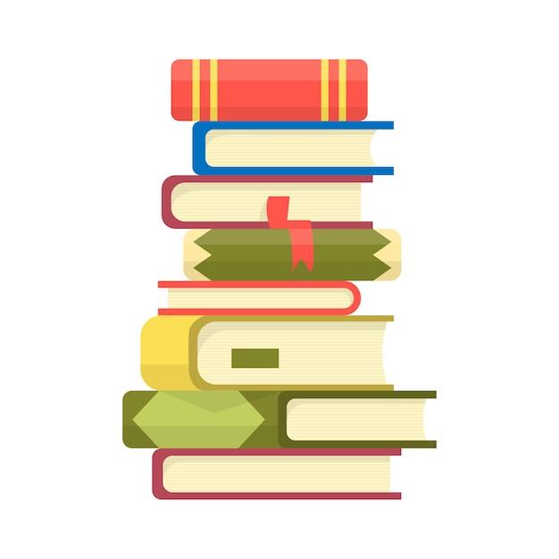 Pila di libri. mucchio di libri illustrazione vettoriale. icona pila di libri in stile piano. Vettore Premium