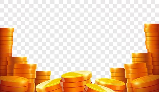 Pila di monete Vettore Premium