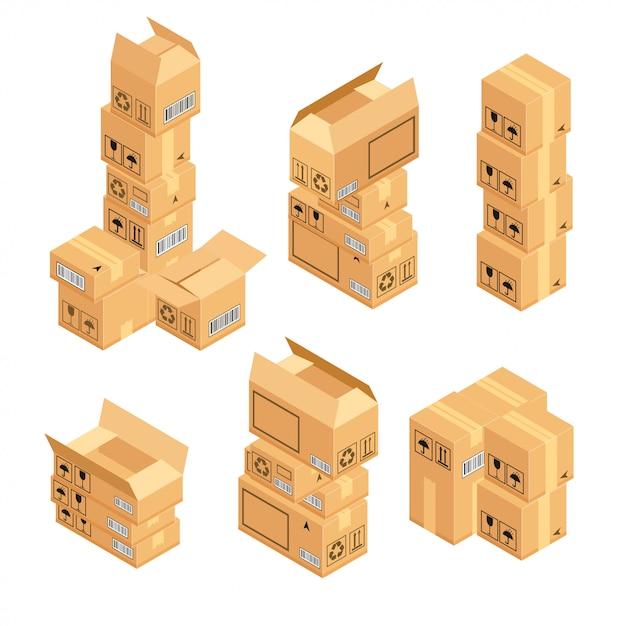 Pila di scatole di cartone isolate Vettore Premium