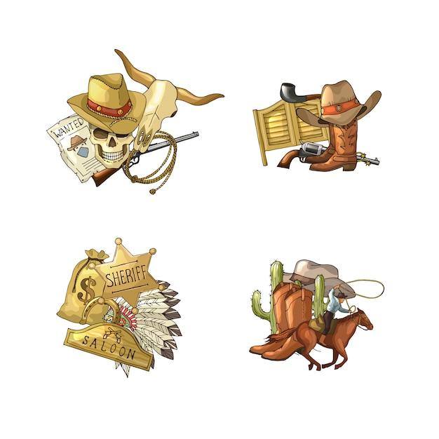 Pile di elementi cowboy selvaggio west impostato isolato Vettore Premium