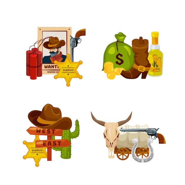 Pile di elementi di wild west cartoon impostato isolato su bianco illustrazione Vettore Premium