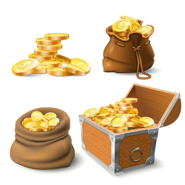 Pile di monete d'oro. moneta nel vecchio sacco, grande pila d'oro e petto Vettore Premium