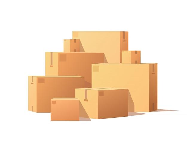 Pile pacchi scatole di cartone impilate e sigillate Vettore Premium