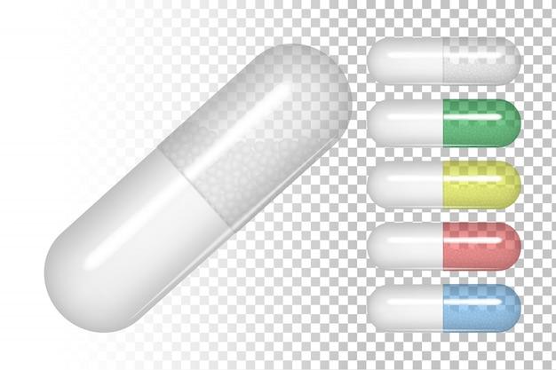 Pillole di diversi colori. Vettore Premium
